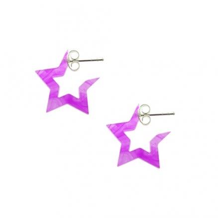 6mm Pink Shade UV React 5 Star Ear Hoop