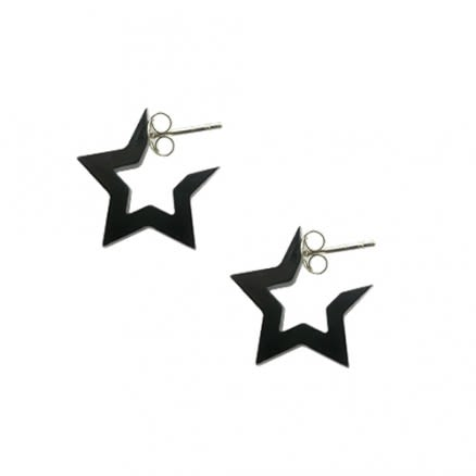 6mm UV React Black 5 Star Ear Hoop SUS2001BL