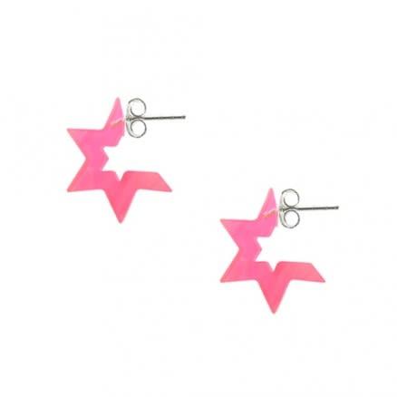 6mm Pink Color UV React Acrylic Ear Hoop