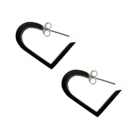 Black UV Acrylic Heart Silver Ear Stud Hoop