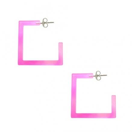 Pink UV Square Ear Hoop