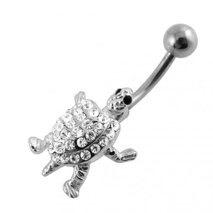 Moving Jeweled Turtle Belly Ring