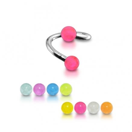 Twisted Barbell with UV Glow Balls