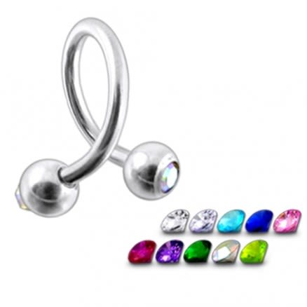 14g twisted barbell with jewel balls