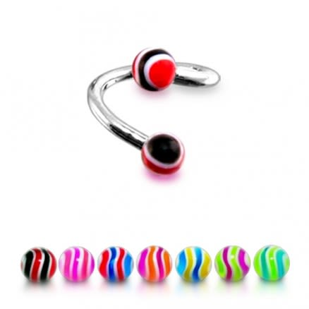 316 Surgical Steel Twisted Barbell Multi Color Line UV Lip Eyebrow Ring