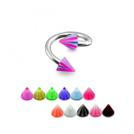 SS Eyebrow Twisted Barbell With UV Cone