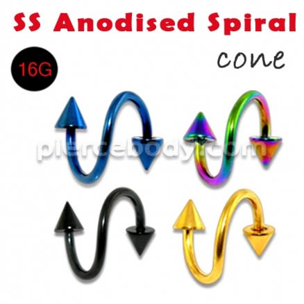 316L Surgical steel Anodised Spiral with Cones