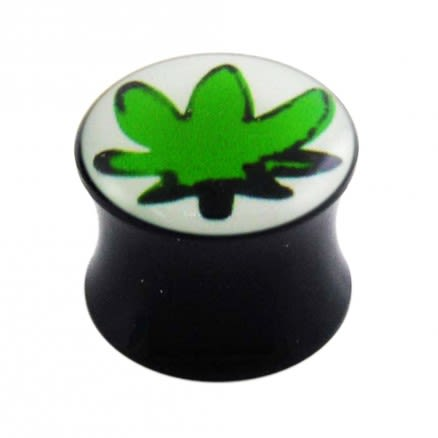 Double Flared Marijuna Logo Ear Plug