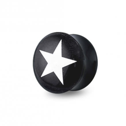 Double Flared White Star Logo Ear Plug