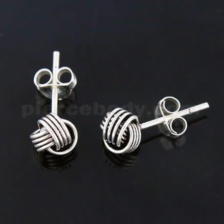 Oxidized 925 Sterling Silver Love Links Ear Stud