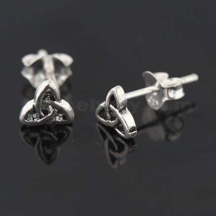 Oxidized 925 Sterling Silver Tribal Sign Ear Stud
