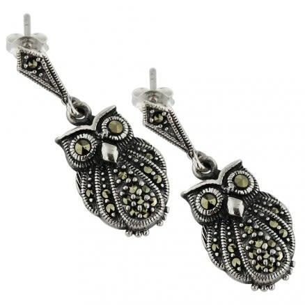 925 Sterling Silver Marcasite Owl dangling Earring