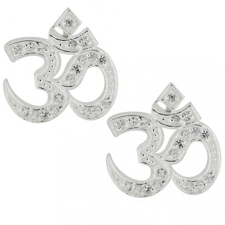 925 Sterling Silver Micro Setting Jeweled Ohm Earring Ear Stud