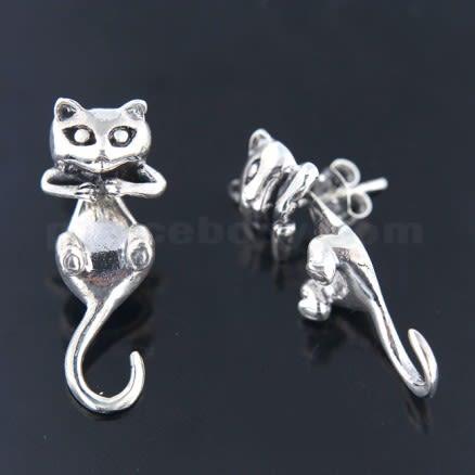 925 Sterling Silver Oxidized Split Back Cat Earring Ear Stud