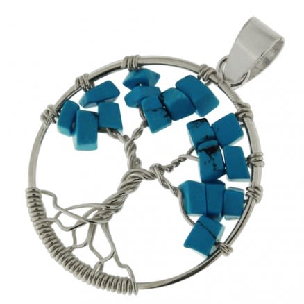 925 Sterling Silver Round Tree of Life Pendant