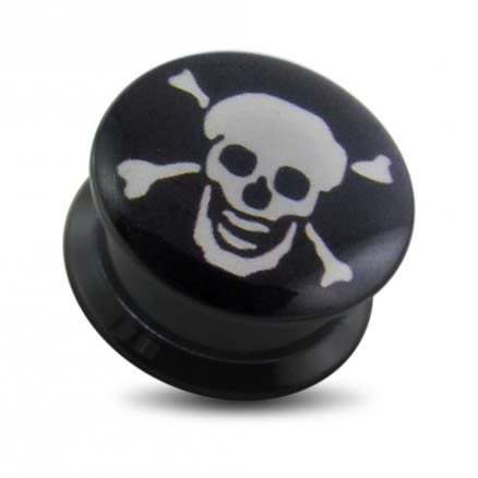 Black UV Internal Skull Logo With Screw Fit Ear Tunnel