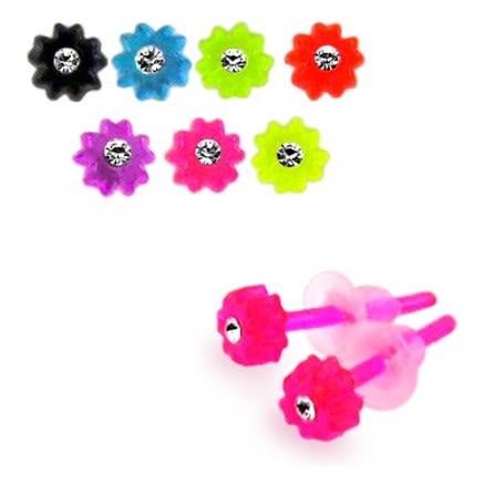 UV React Jeweled Flower Ear Stud Pack