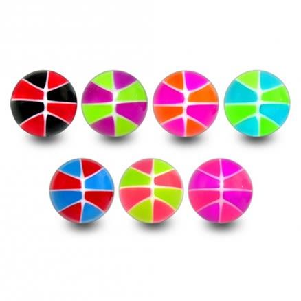 UV Fancy Basketball Mix Color Body Jewelry Balls