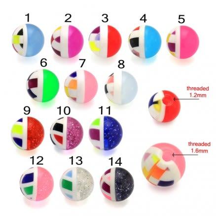 UV Fancy Acrylic Chunky Beads Body Piercing Balls