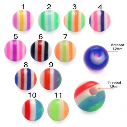 UV Reactive Marble Acrylic Body Piercing Balls