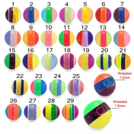 Assorted Color Lip Labret with 3MM UV Acrylic Mix Color Ball