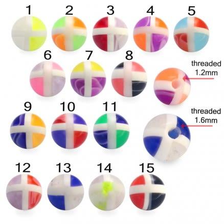 Fancy Glitter UV Multi Colorful Design Body Piercing Balls