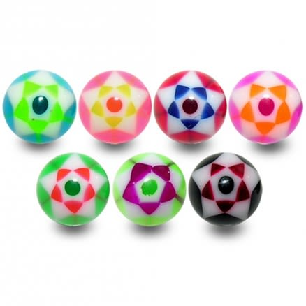 UV Colorful Hand Painted Fancy Dot With Star Thread Ball