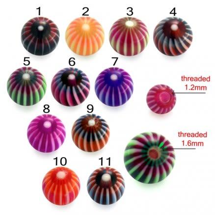 UV Fancy Stripe Printed Eyebrow Lip Tongue Balls