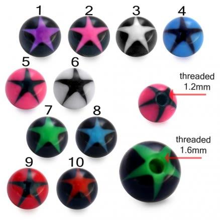UV Mix Multi Color Chin Lip Eyebrow Fancy Star Print Balls