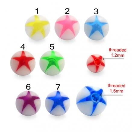 Mixed Color UV Fancy Bead Lip Chin Piercing Star Printed Balls