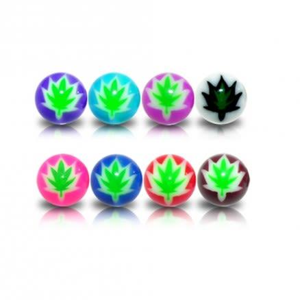Mixed Color UV Fancy Merijuana Leafs Print Lip Chin Piercing Balls