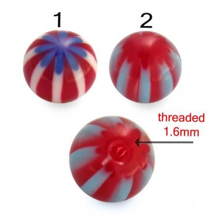 Mixed Color UV Fancy Bead Lip Chin Piercing Balls