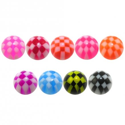 Mixed Checkered Color UV Fancy Ball Bead Lip Chin Balls