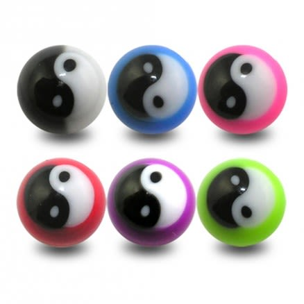 UV Fancy Ball Bead Lip Chin Fancy YING YANG Balls