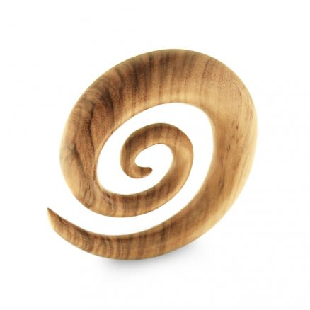 Organic Teak Wood Spiral Ear Expander Gauges