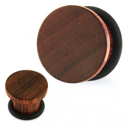 "Organic Sono Wood Single Flared Ear Plug with ""O"" Ring Gauges"