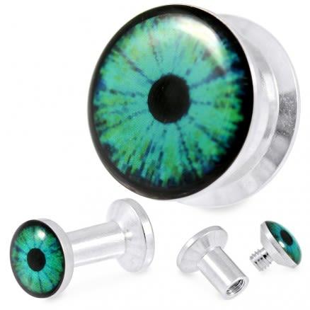 316L Surgical Steel Blue Eye Screw Fit Flesh Tunnel