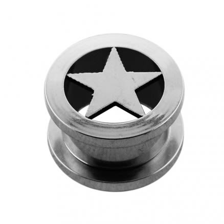 SS Screw Fit Star Ear Flesh Tunnel