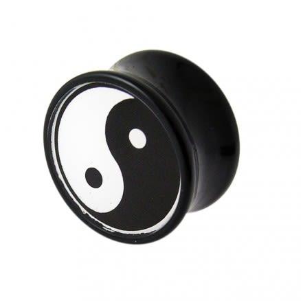 Double Flared Ying Yang Logo Ear Plug
