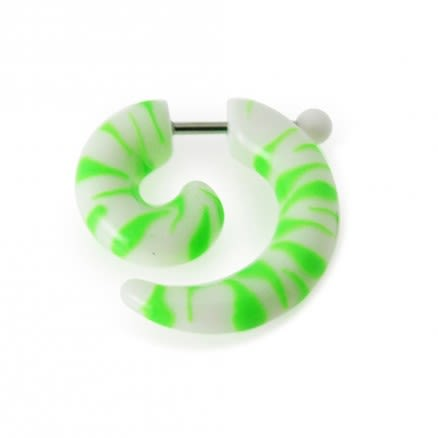 Green And White Lines Hand Painted Fake Spiral Ear Expander Body Jewelry