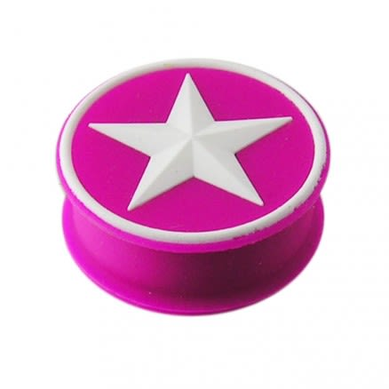 Embossed White Star Silicone Plug