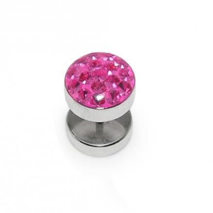 SS With Pink Crystal stone Ear Plug Body Jewelry