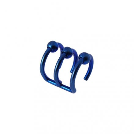 Dark Blue Anodized Cartilage 'Clip-On' Ear Closure Ring