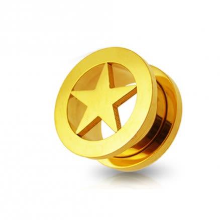 Gold Screw Fit Star Flesh Tunnel