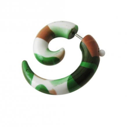 UV and Steel Spiral Fake Ear Plug Expander Body Jewelry