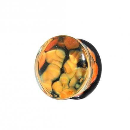 Orange Pebble Pyrex Glass Ear Plug