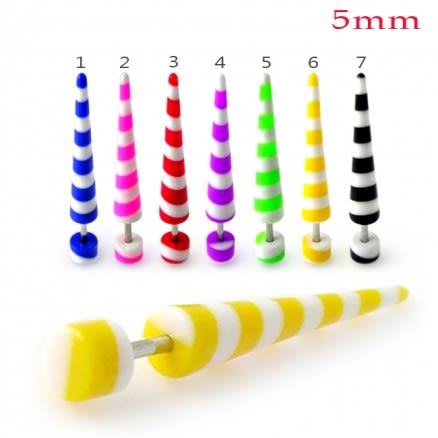 Colorful Stripes Straight Fake UV Ear Taper Body Jewelry