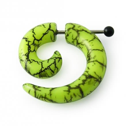 Surgical Steel & UV Spiral Marble Fake Ear Plug