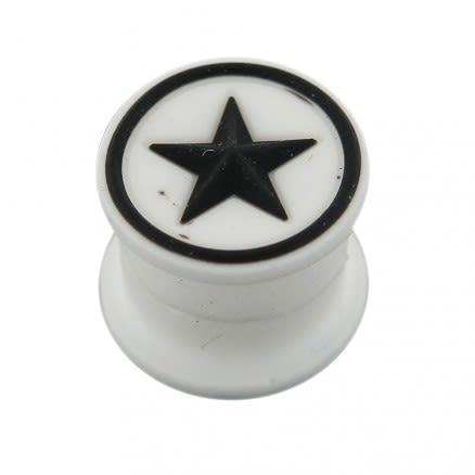 Embossed Black Star in White Silicone Magnetic Ear Plug