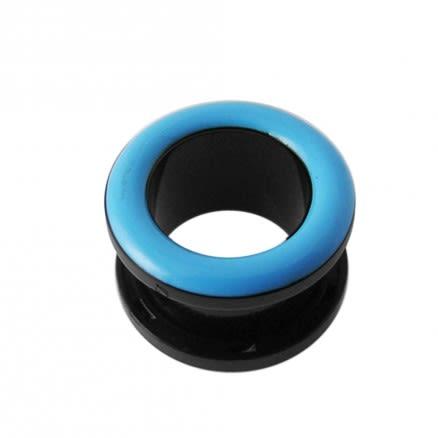 UV Light Blue Inlay Screw Fit Flesh Tunnel